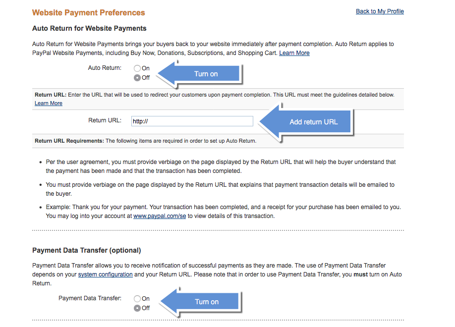 Configure PayPal website settings