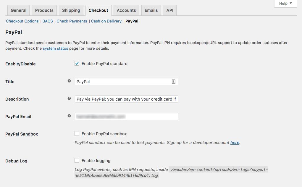 PayPal Standard setup