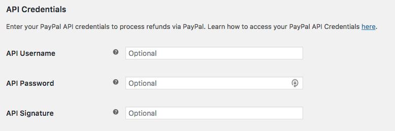 PayPal API settings