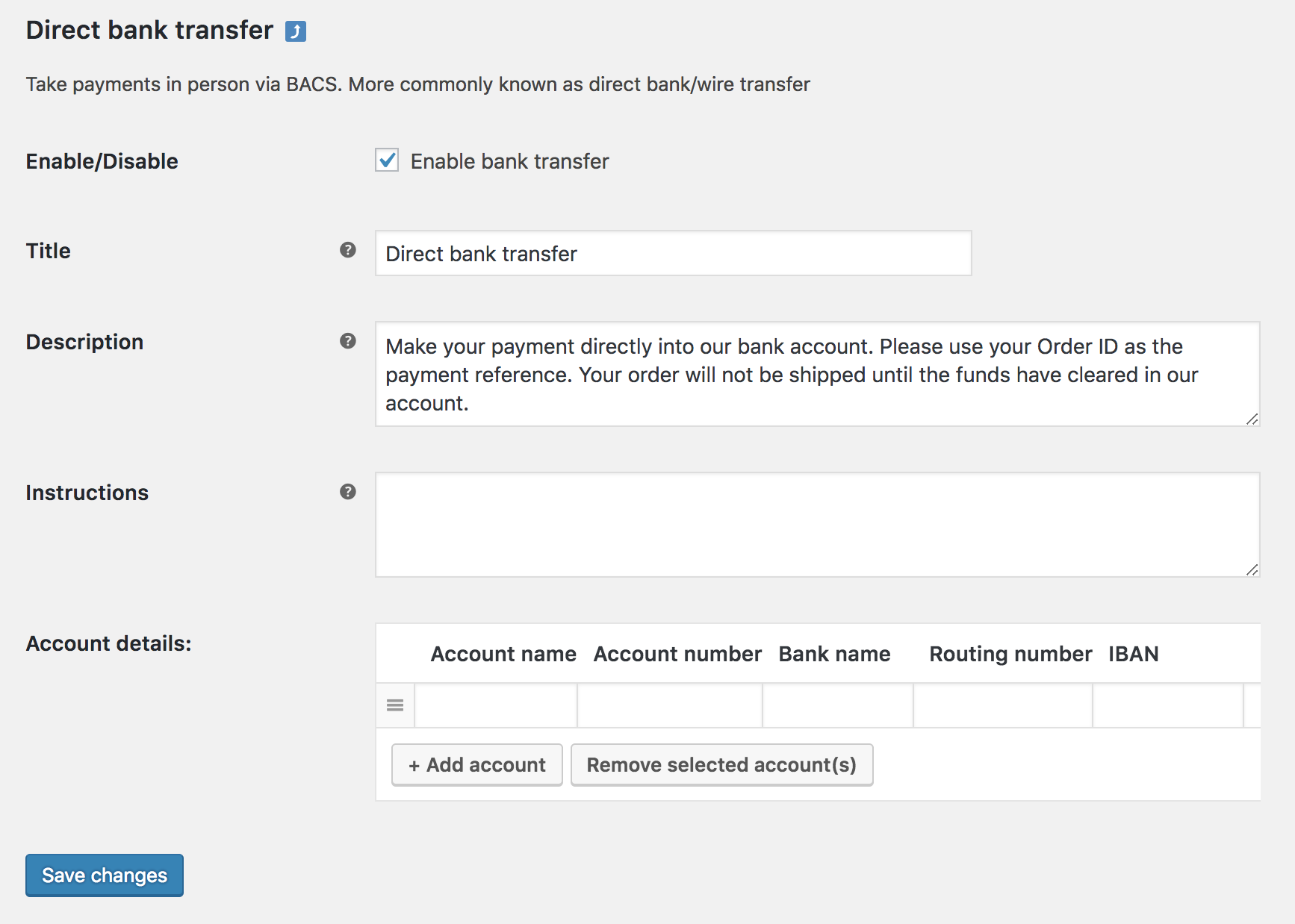 direct bank transfer (bacs) - woocommerce docs