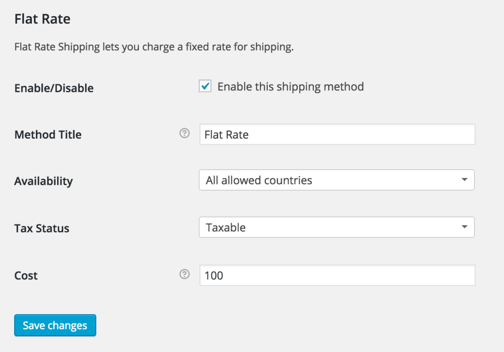 Flat Rate - Docs Settings Woocommerce