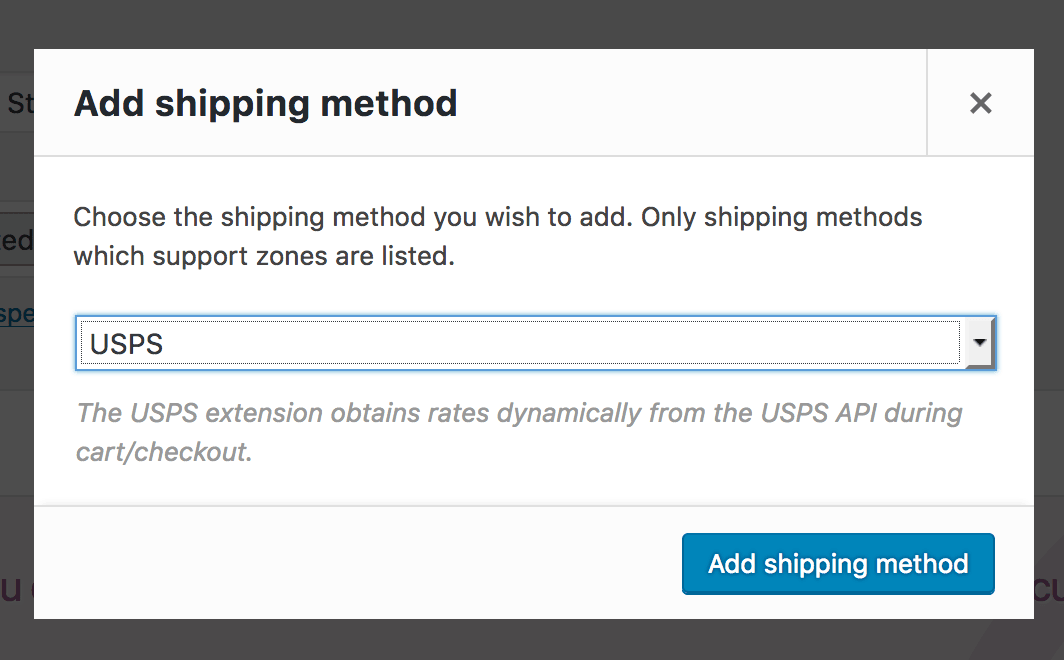 select usps from the dropdown and press add shipping method