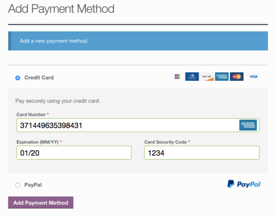 WooCommerce Braintree add credit card