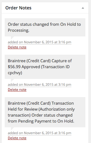 WooCommerce Braintree Charges Captured