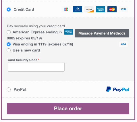WooCommerce Braintree saved credit cards at checkout