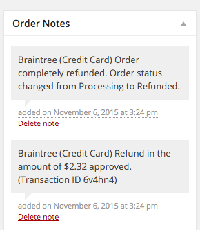 WooCommerce Braintree Credit Card Refund Notes