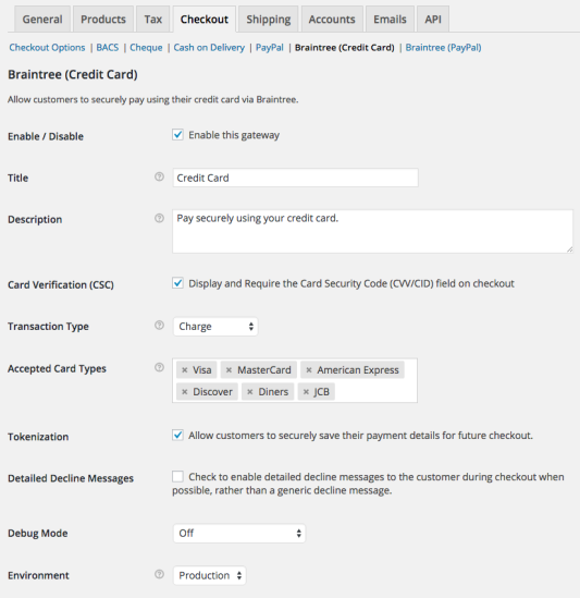 WooCommerce Braintree Credit Card Settings 1