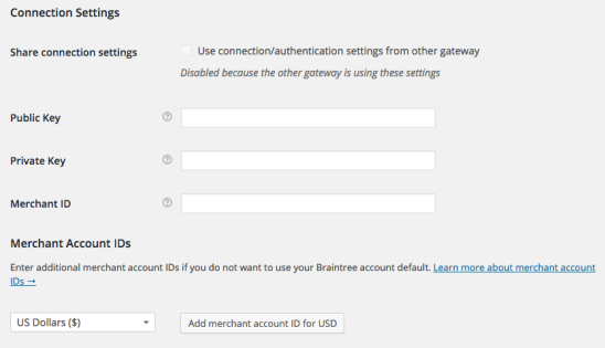 WooCommerce Braintree CC Connection Settings