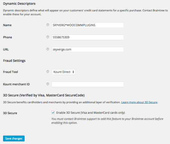 WooCommerce Braintree Credit Card Settings 4