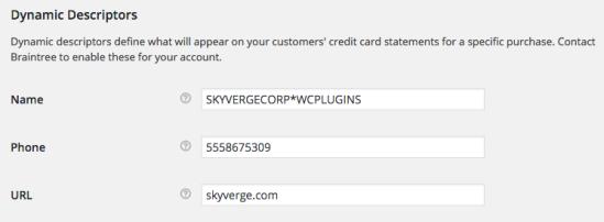 WooCommerce Braintree Dynamic Descriptor Name - format 3