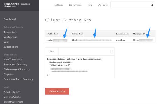 WooCommerce Braintree Get API Keys 4