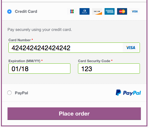 WooCommerce Braintree payment form