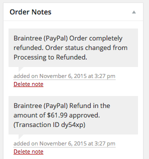 WooCommerce Braintree PayPal Refund Notes