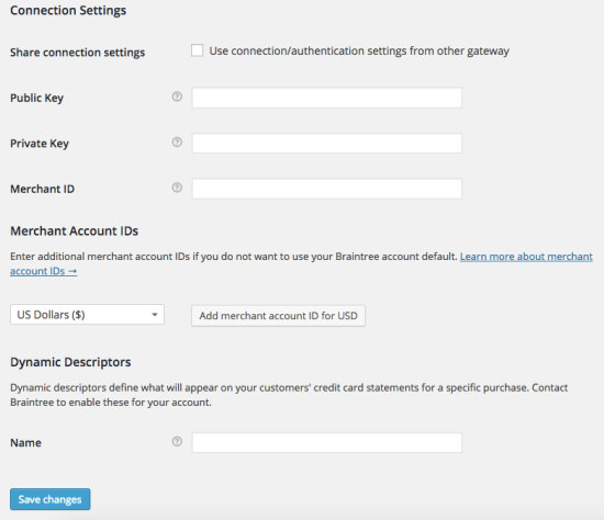 WooCommerce Braintree PayPal Settings 2