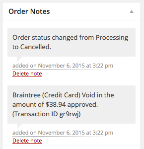 WooCommerce Braintree Voided order notes