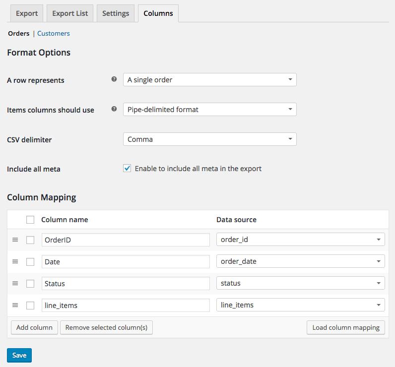 WooCommerce Customer / Order CSV Export build custom format