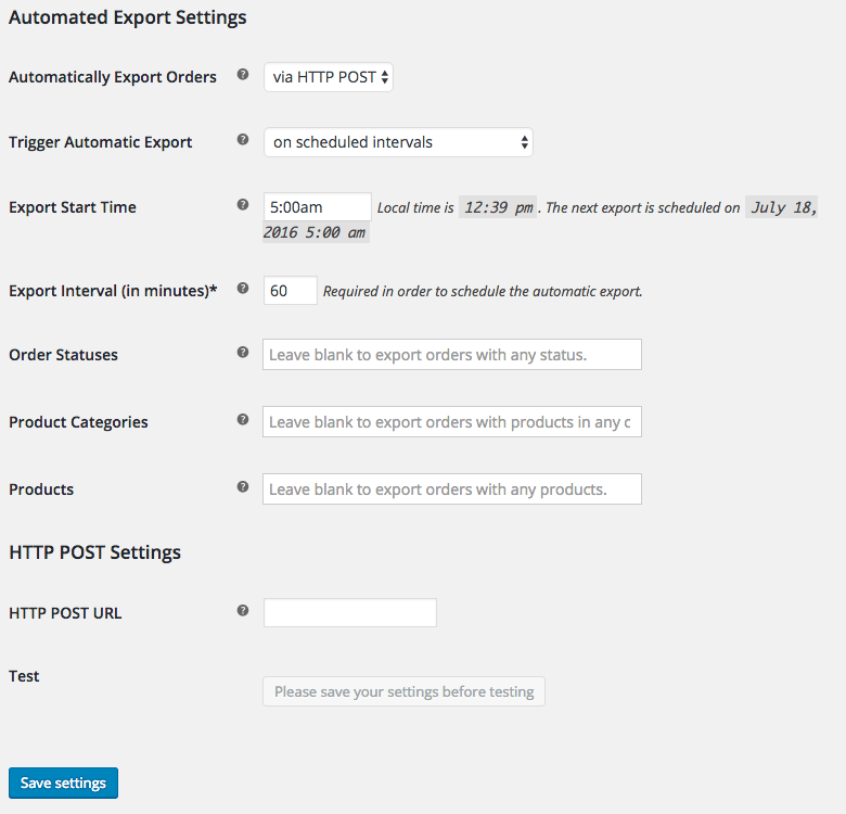 WooCommerce Customer / Order CSV Export HTTP POST settings