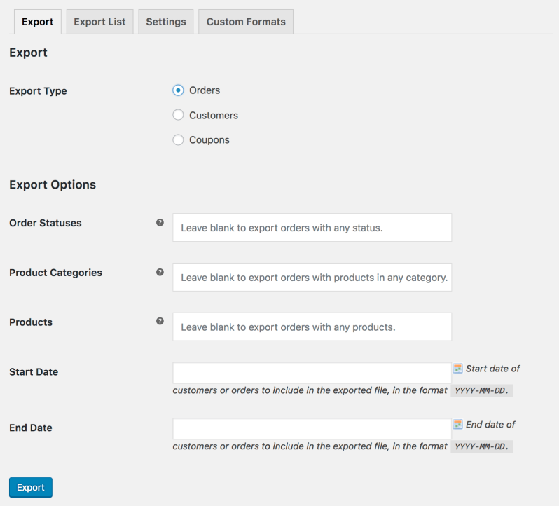 WooCommerce Customer / Order CSV Export: orders export tool