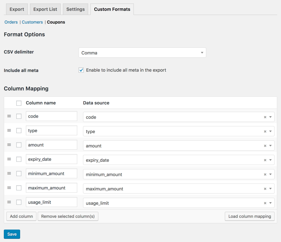 WooCommerce Customer / Order CSV Export build custom format