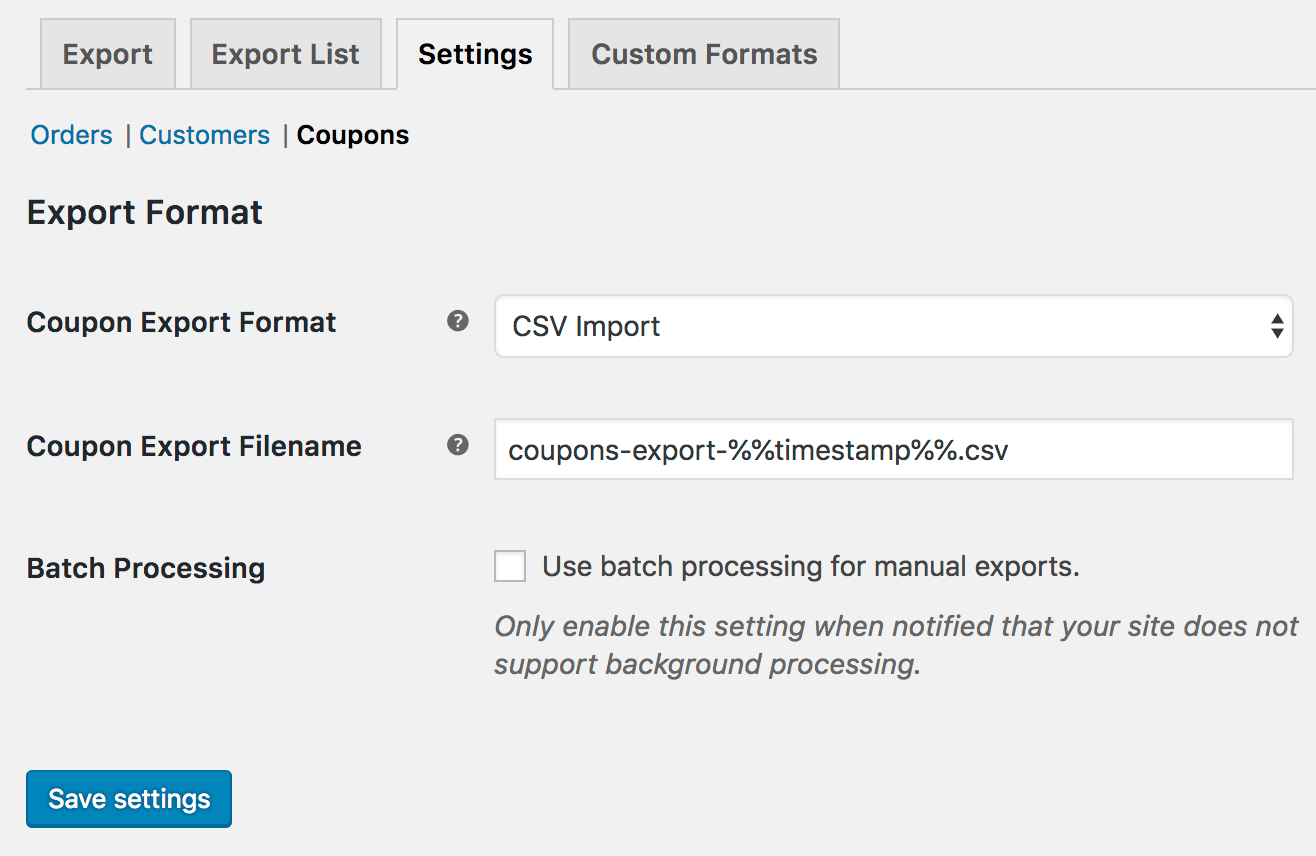 WooCommerce Customer / Order / Coupon CSV Export