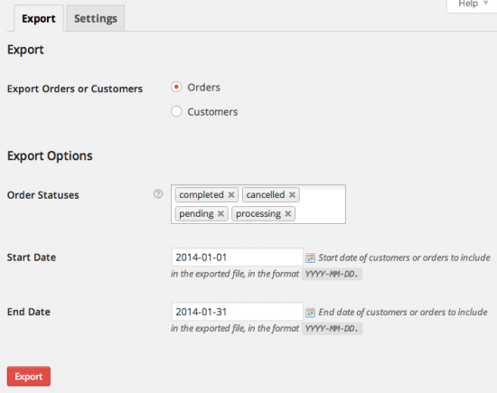 WooCommerce Customer / Order CSV Exporter Export Page