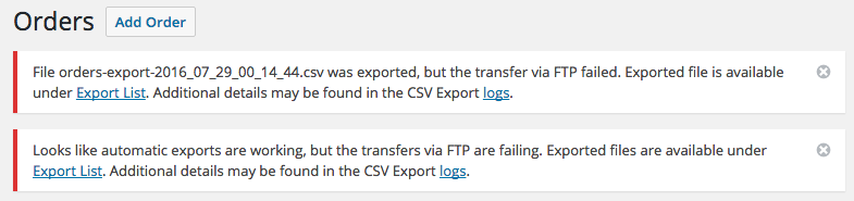 WooCommerce Customer / Order CSV Export transfer warnings