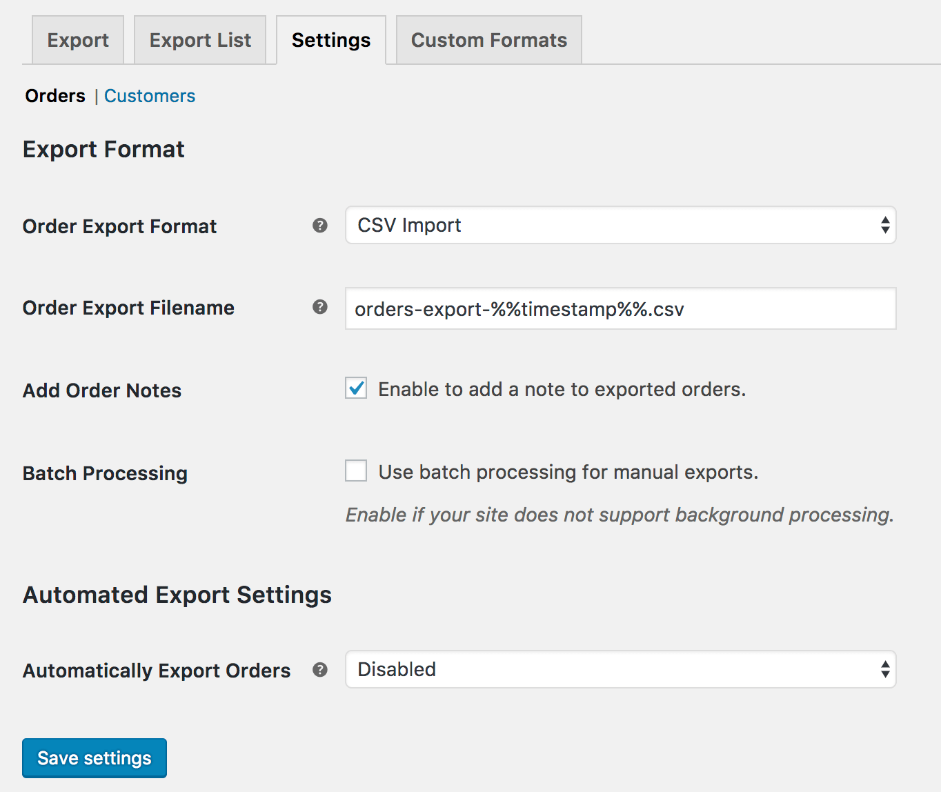 WooCommerce Customer Order Export Settings