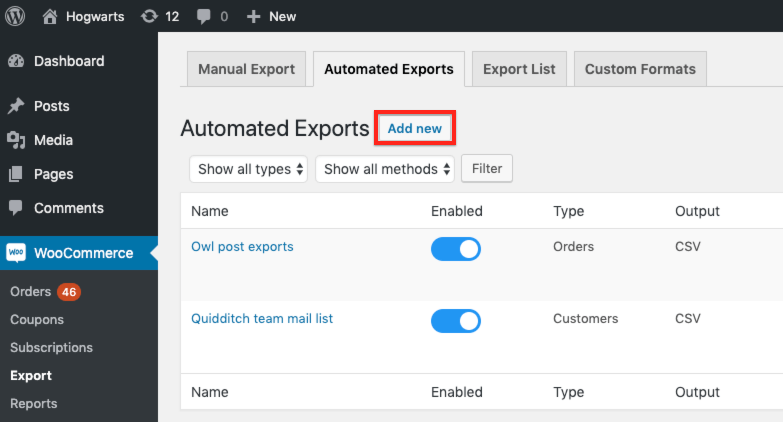 Add new automated export