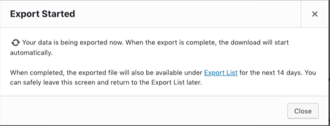 Export started modal