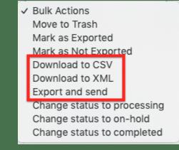 Export bulk actions