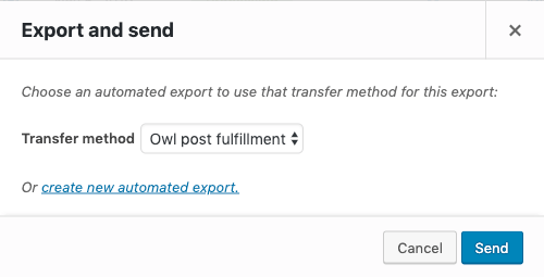 Export and send settings for orders