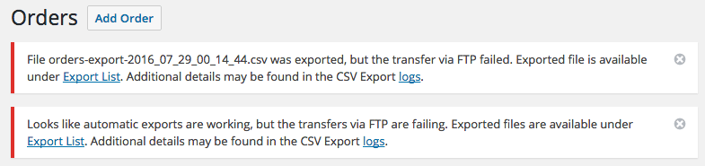 Notices for failed export transfer