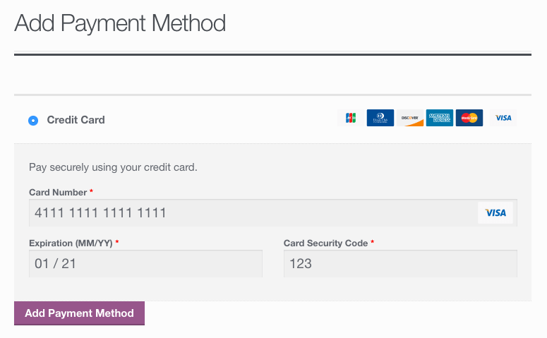 WooCommerce First Data Add Payment Method