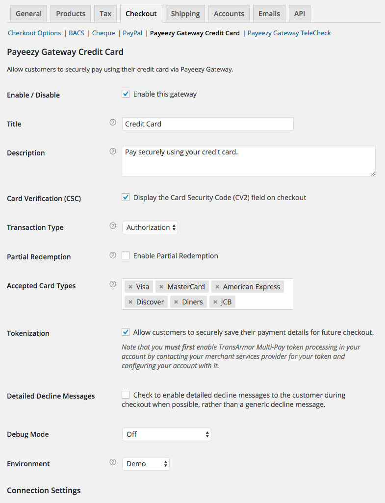 woocommerce first data payeezy woocommerce docs woocommerce first data payeezy gateway settings