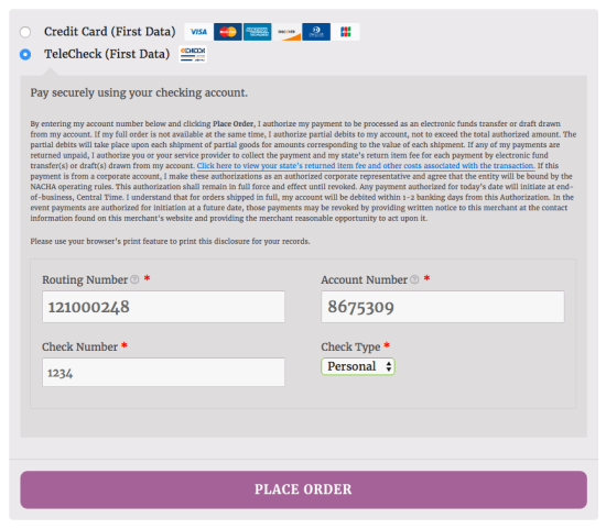 WooCommerce First Data TeleCheck Checkout