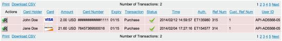 WooCommerce First Data Transactions List
