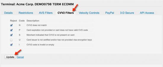 Select CVV2 Filters