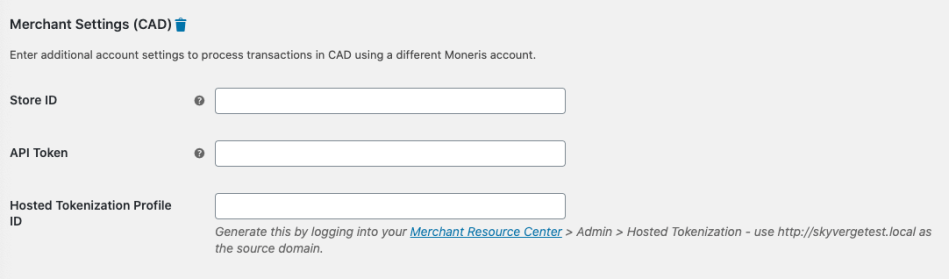 Multicurrency settings in the Moneris credit card settings.