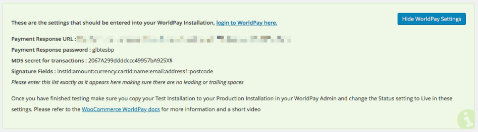 Worldpay settings, shown in your WooCommerce settings