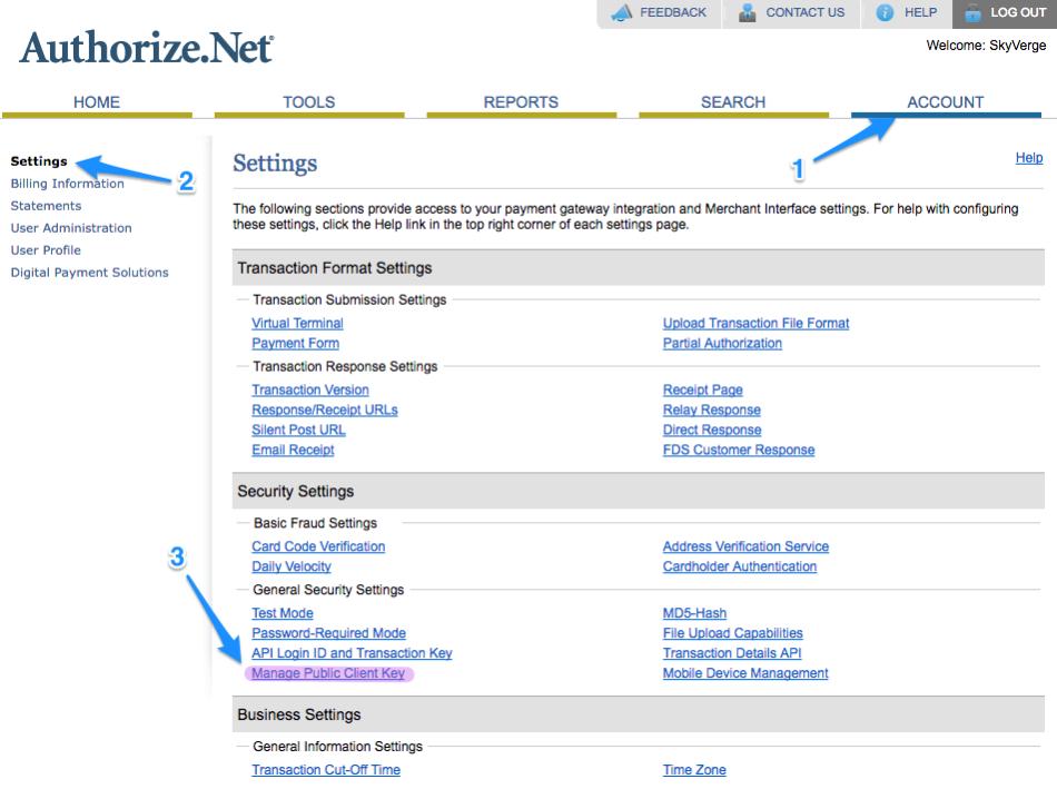 WooCommerce Authorize.Net CIM get client key