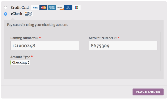 WooCommerce Authorize.net AIM eCheck payment form