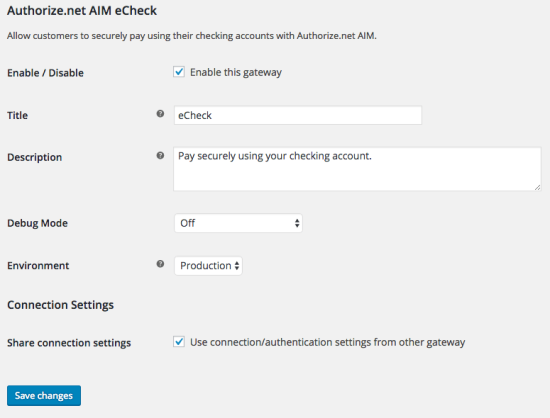 WooCommerce Authorize.Net AIM eCheck settings