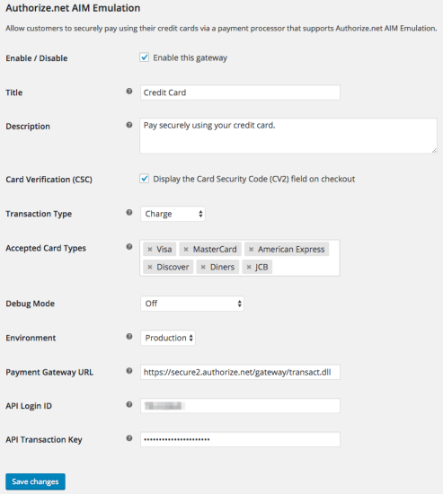 WooCommerce Authorize.Net AIM Emulation settings