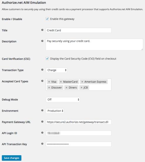 WooCommerce Authorize.Net AIM Emulation settings