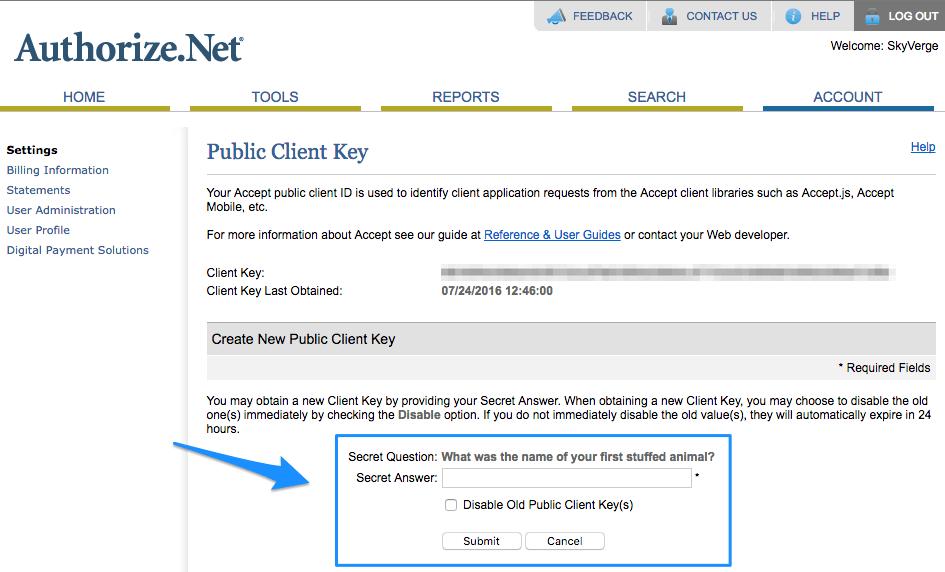 WooCommerce Authorize.Net CIM generate client key