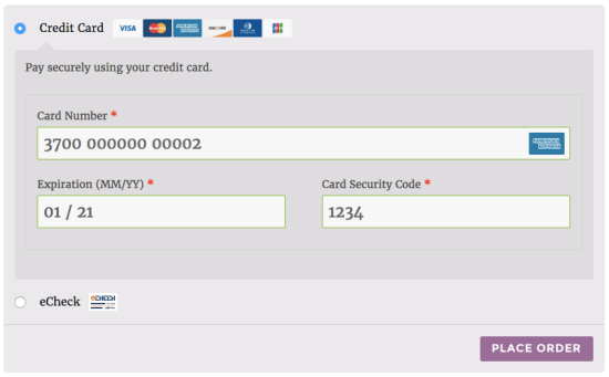 WooCommerce Authorize.net AIM payment form
