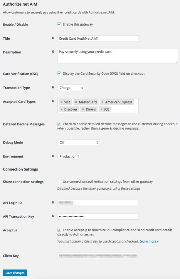 WooCommerce Authorize.Net AIM Credit Card Settings