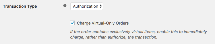 WooCommerce Authorize.Net AIM Virtual order charges