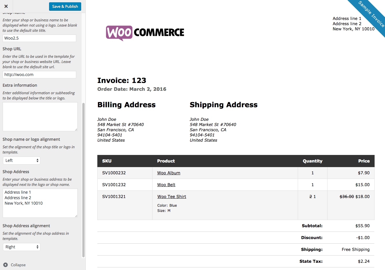 WooCommerce Print Invoices Packing Lists WooCommerce Docs - Custom invoice sheets