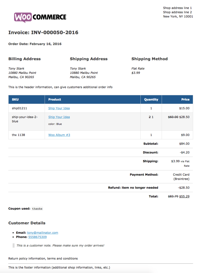 WooCommerce Print Invoices / Packing Lists sample invoice